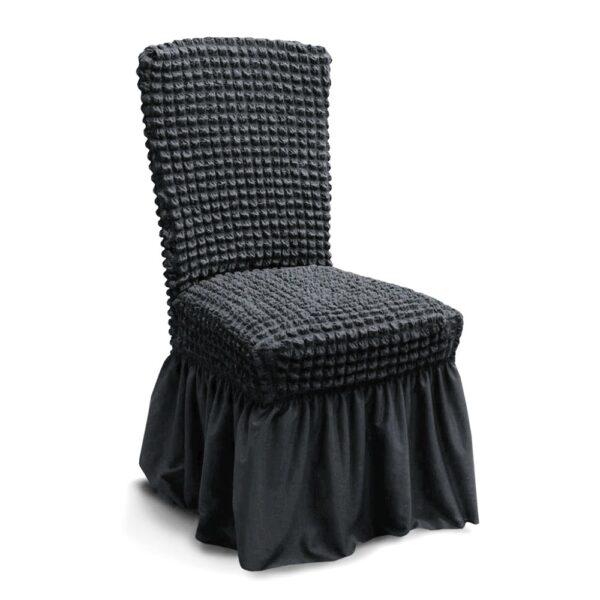 husa de scaun creponata cu volane - gri inchis