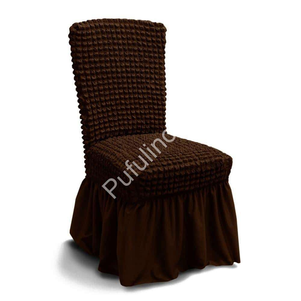husa de scaun creponata cu volane - maro inchis