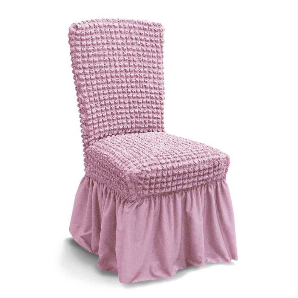 husa de scaun creponata cu volane - roz