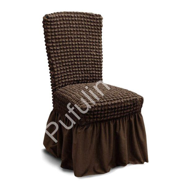 husa de scaun cu volane - cafeniu