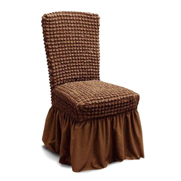 husa de scaun cu volane - cappuccino