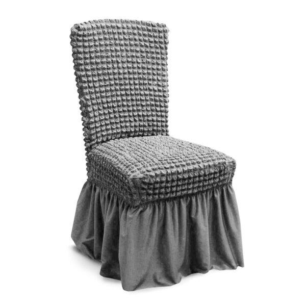 husa de scaun cu volane - gri deschis