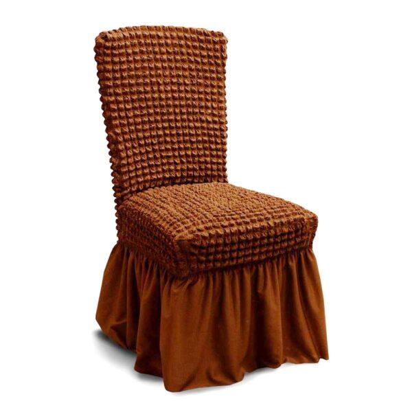 husa de scaun cu volane - maro deschis