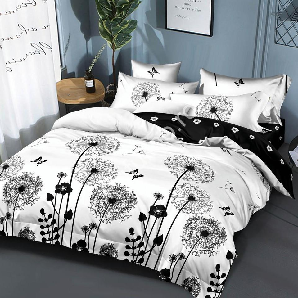 lenjerie alb negru cu papadii