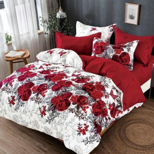 lenjerie alb rosie cu flori