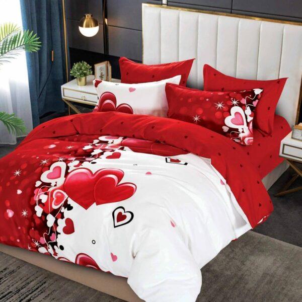 lenjerie alb-rosie cu inimioare