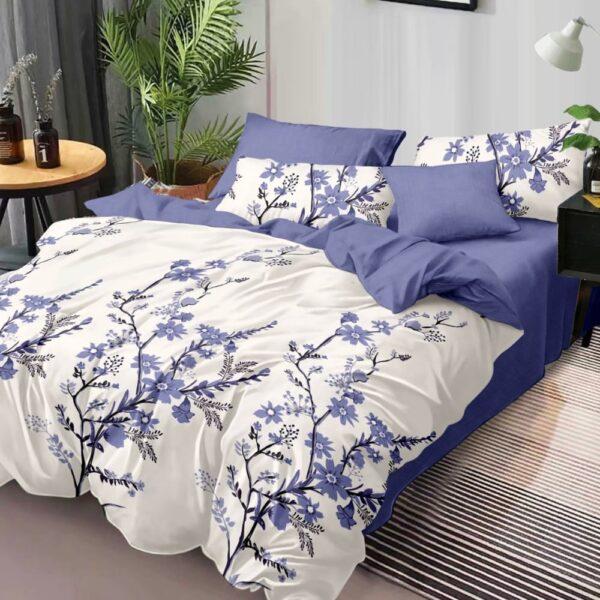 lenjerie de pat finet alba cu flori mov