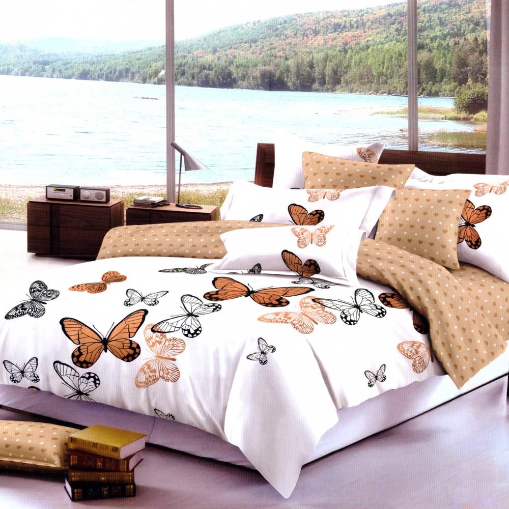 lenjerie de pat finet alba cu fluturi