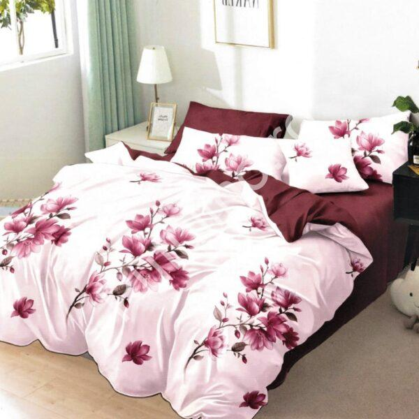 lenjerie de pat finet crem cu flori