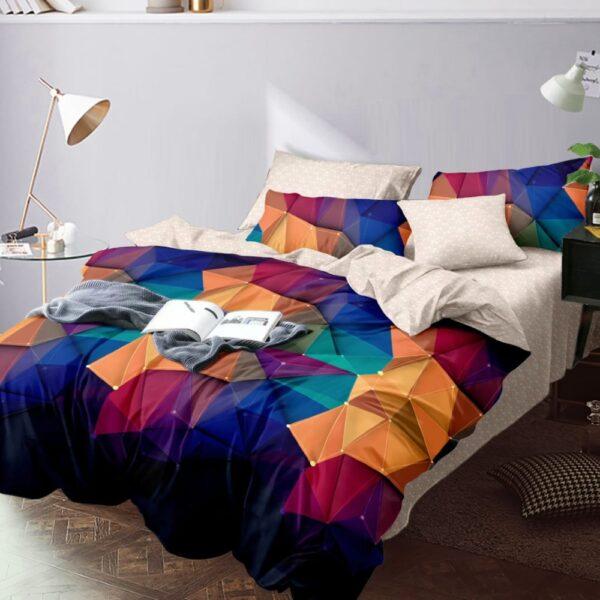 lenjerie de pat finet cu forme geometrice multicolore