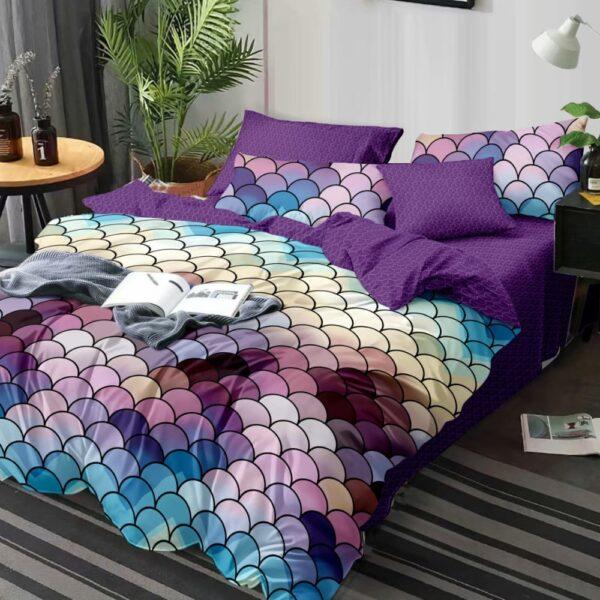 lenjerie de pat finet cu solzi multicolori