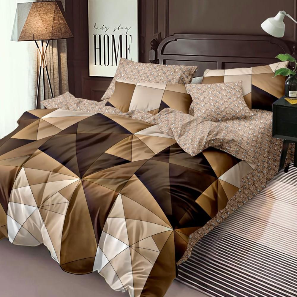 lenjerie de pat finet maro cu forme geometrice