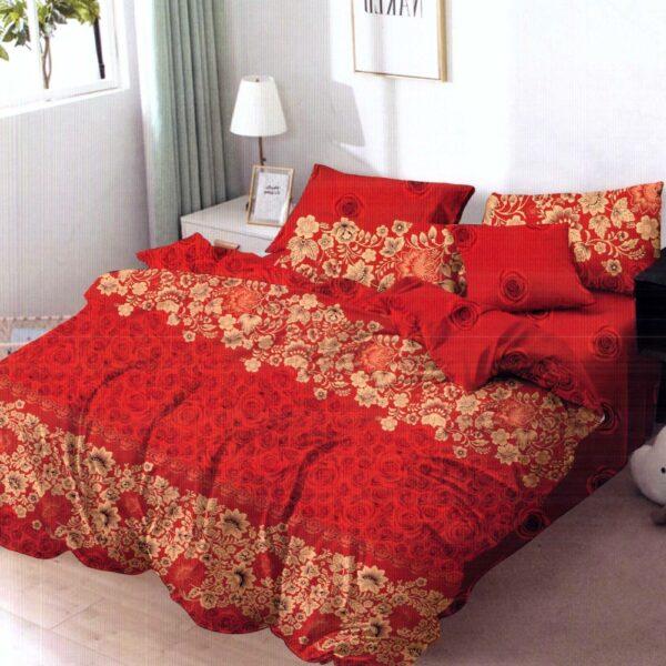 lenjerie de pat finet rosie cu flori