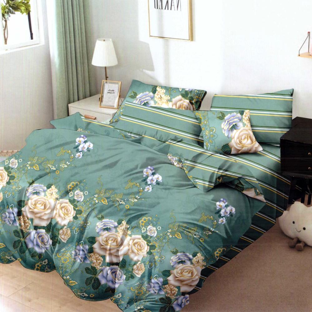 lenjerie de pat finet verde cu flori