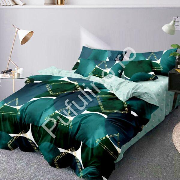 lenjerie de pat finet verde cu forme geometrice