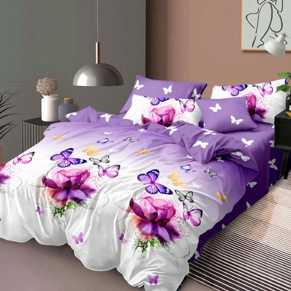 lenjerie de pat finet violet cu fluturi