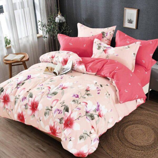 lenjerie roz-portocalie cu flori
