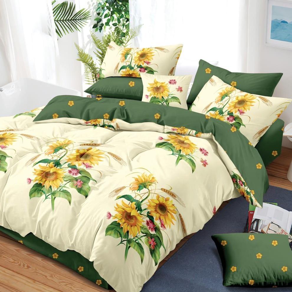 lenjerie verde cu floarea soarelui