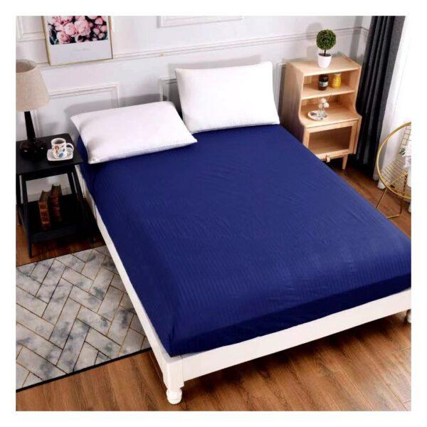 Husa de pat elastica din bumbac damasc bleumarin