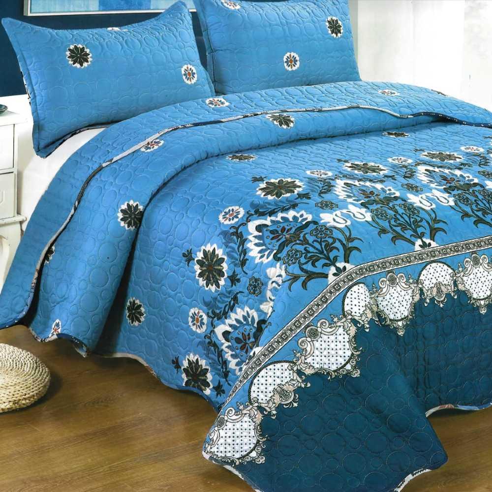 Cuvertura de pat albastra cu flori