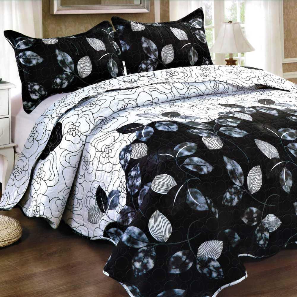 Cuvertura de pat alb cu negru
