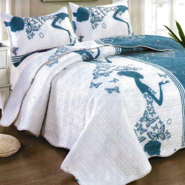 Cuvertura de pat alb cu turcoaz