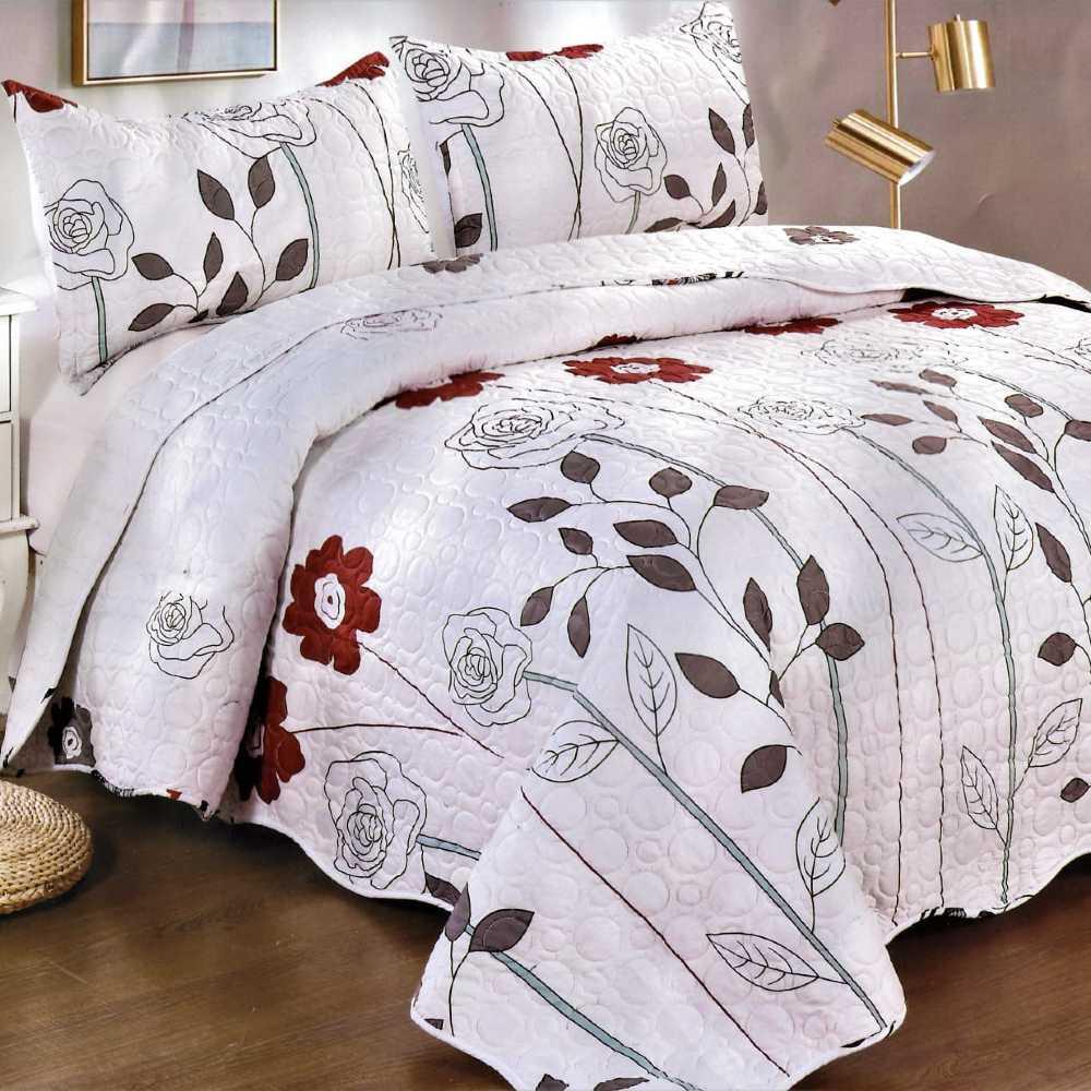 Cuvertura de pat alba cu flori colorate