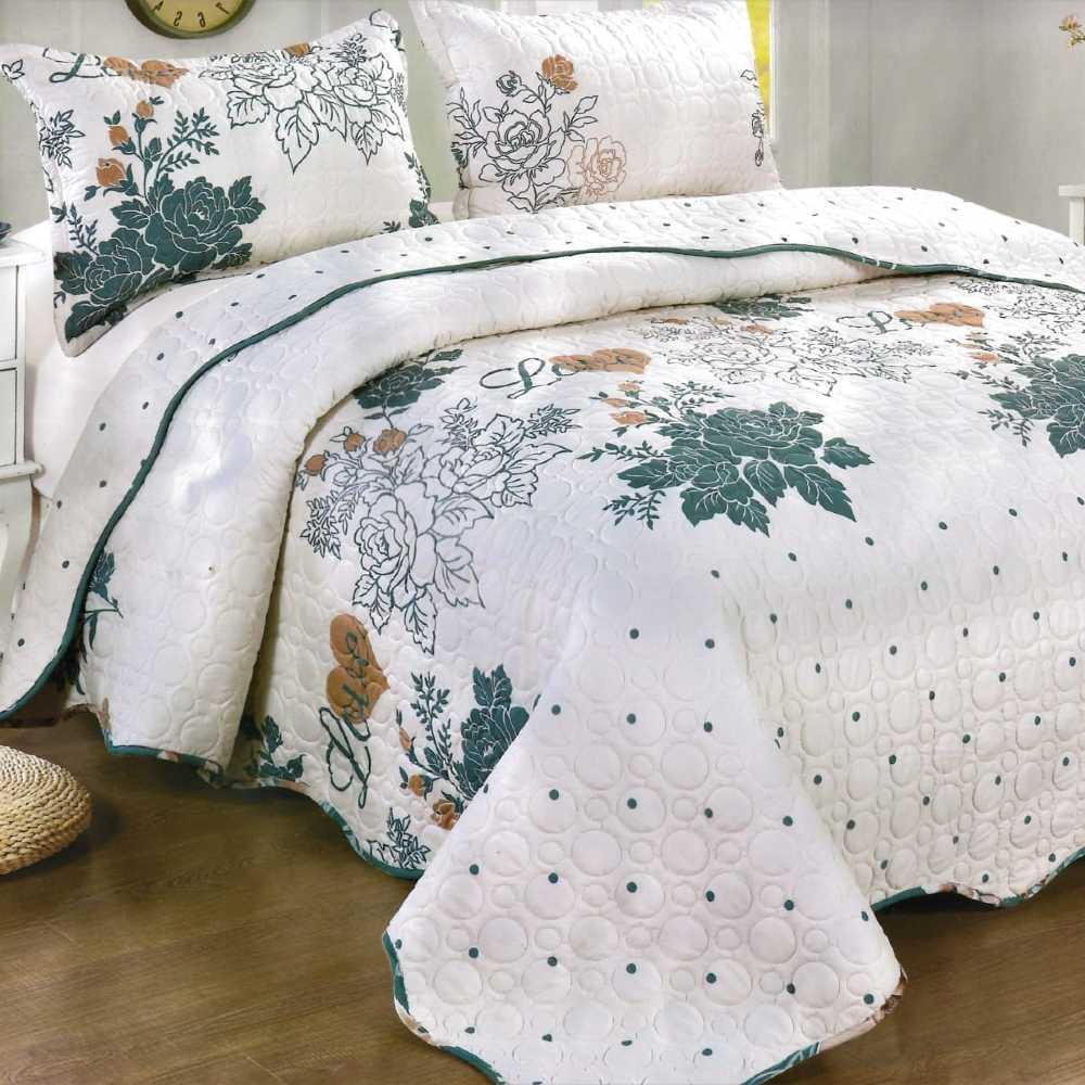 Cuvertura de pat alba cu flori verzi