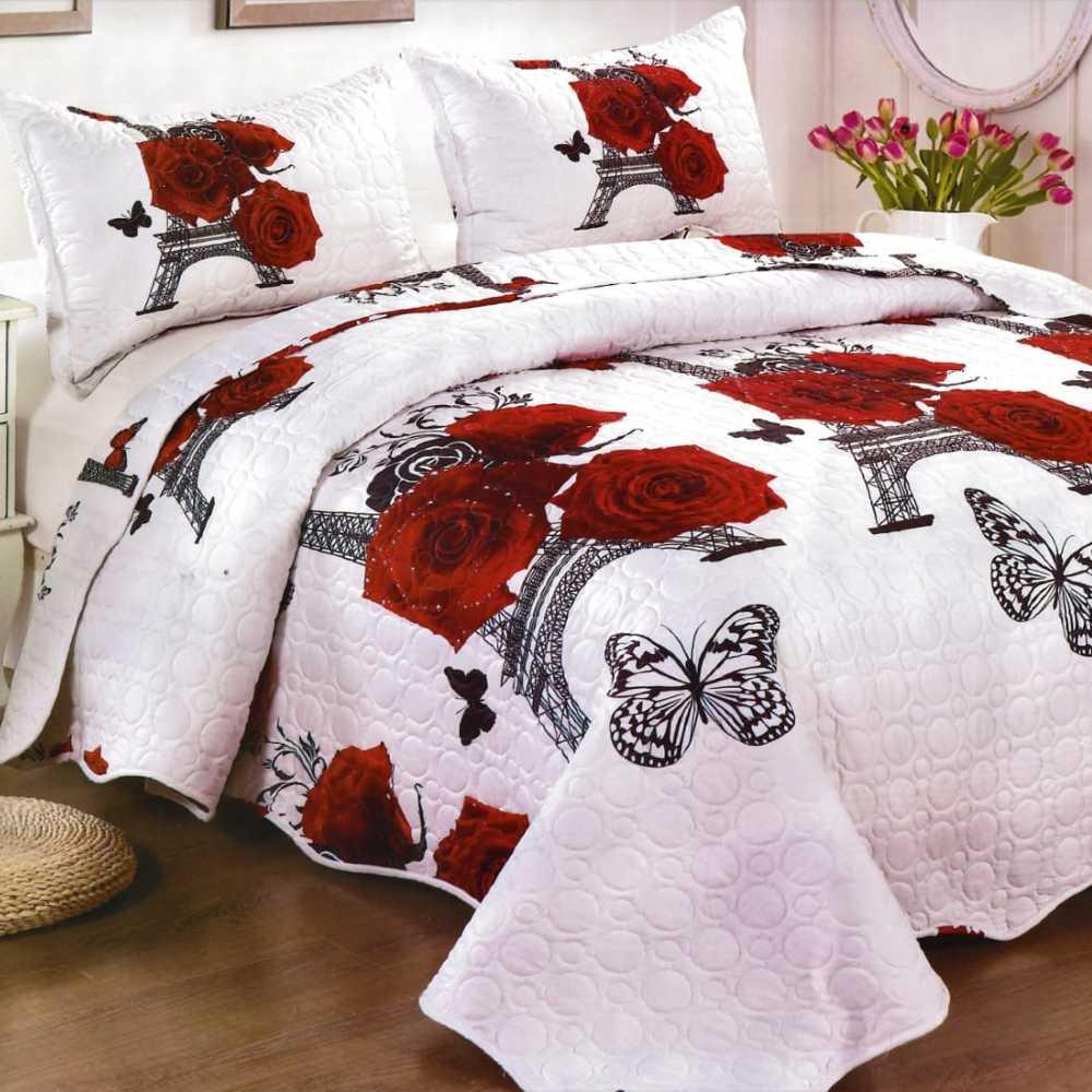 Cuvertura de pat alba cu trandafiri rosii