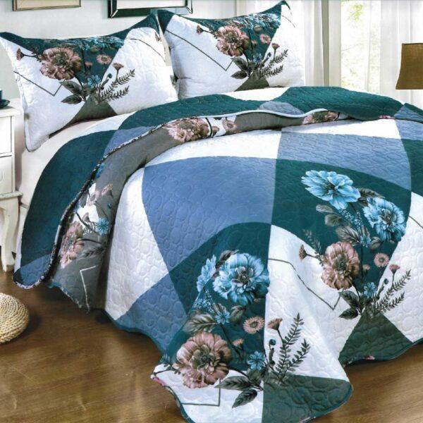 Cuvertura de pat alba cu verde