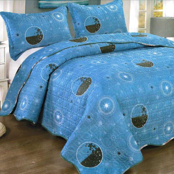 Cuvertura de pat albastra cu cercuri