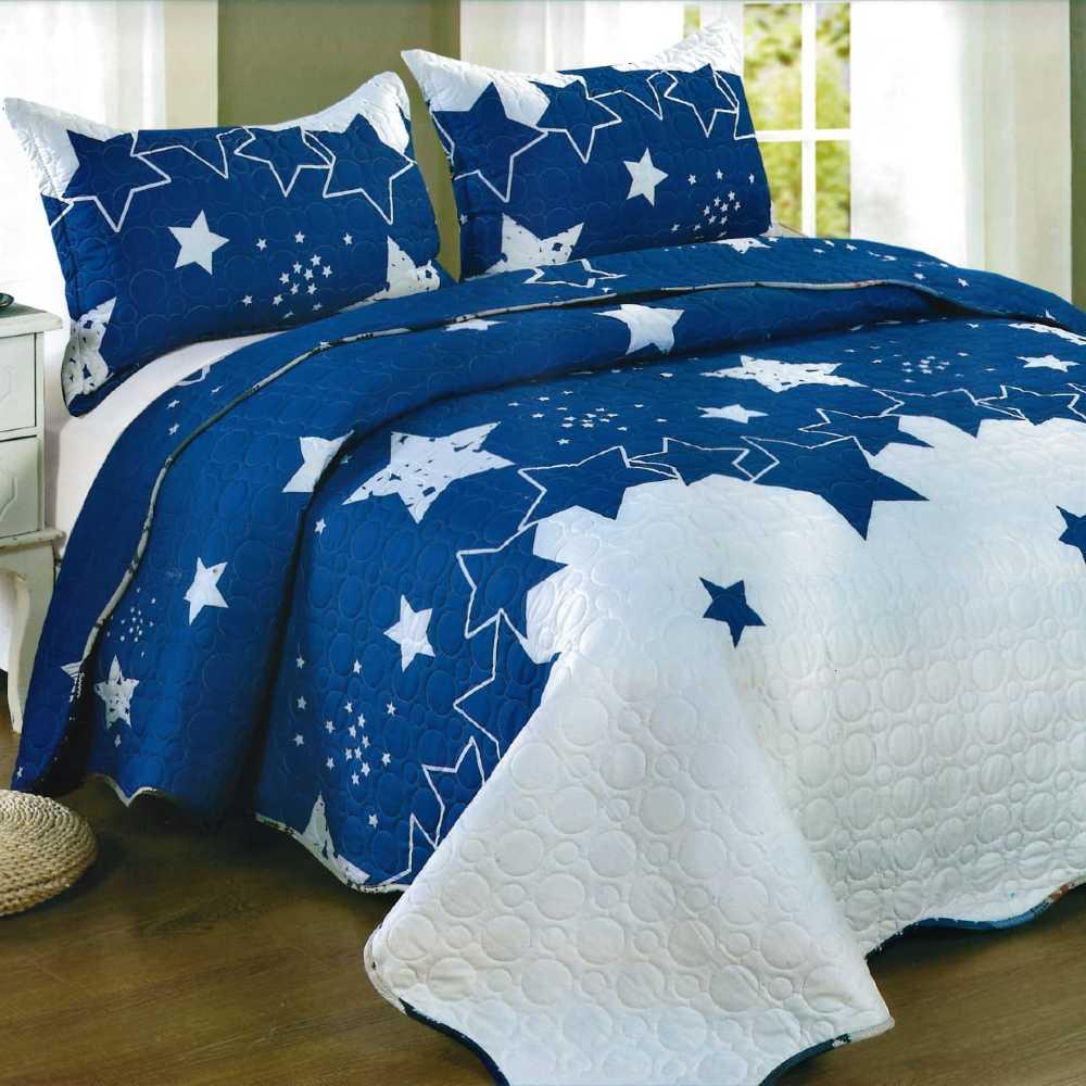Cuvertura de pat albastru cu alb cu stelute