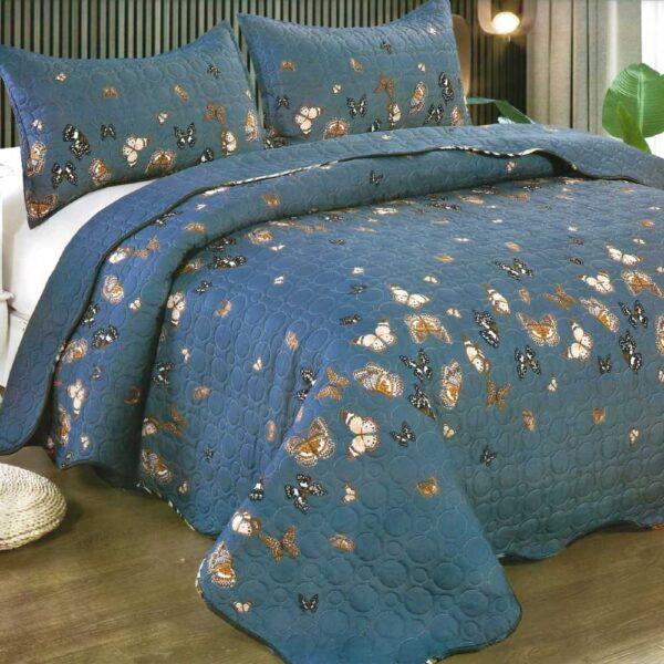 Cuvertura de pat albastru cu fluturi
