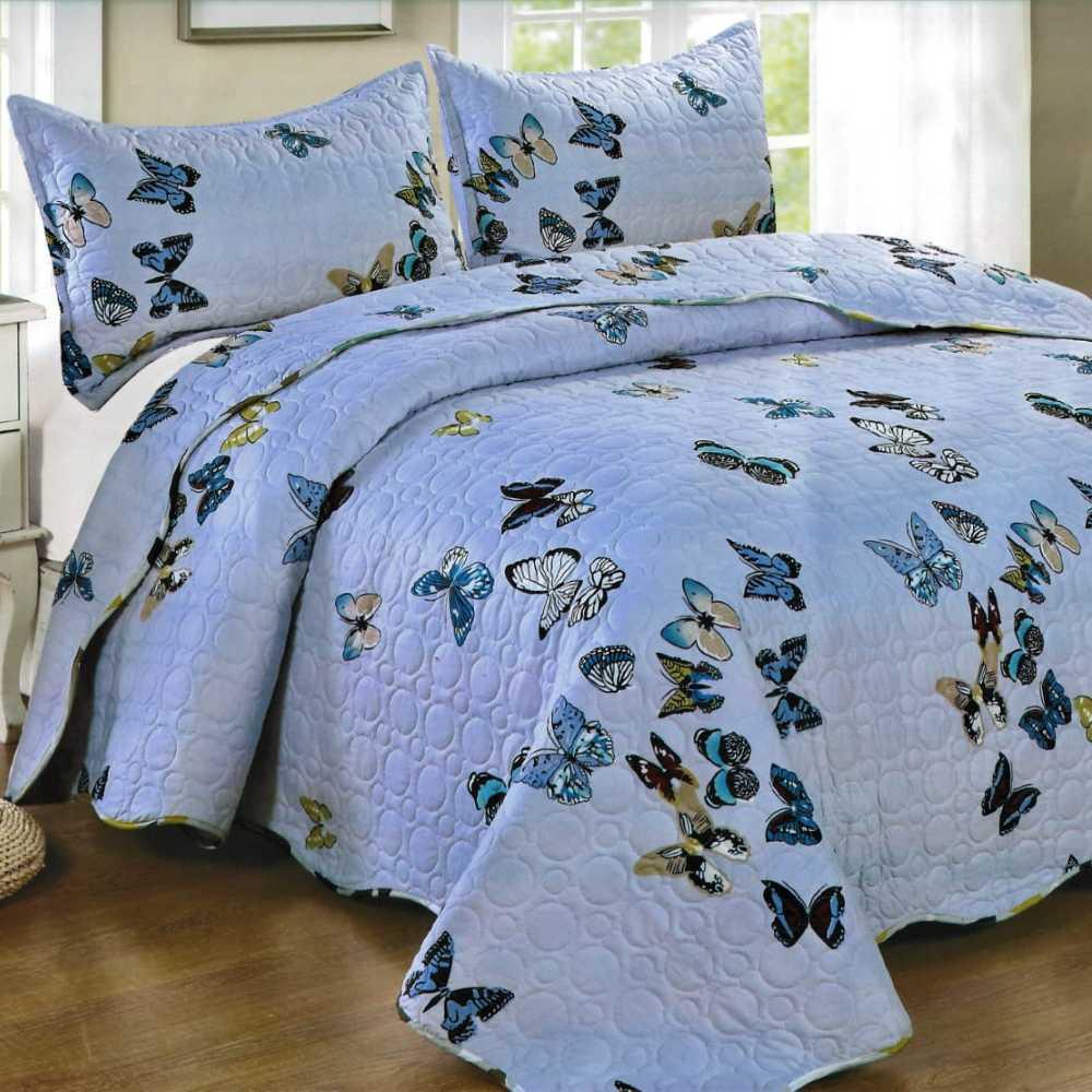 Cuvertura de pat bleu cu fluturi