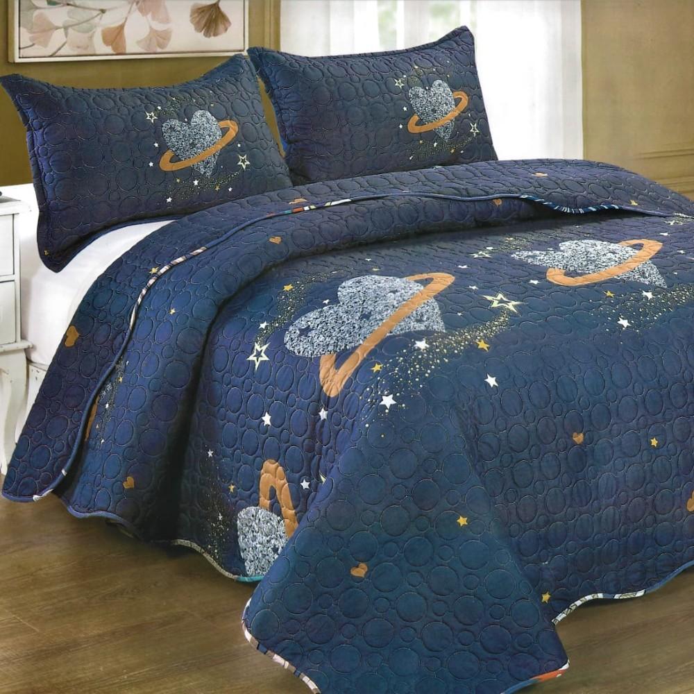 Cuvertura de pat bleumarin cu inimioare