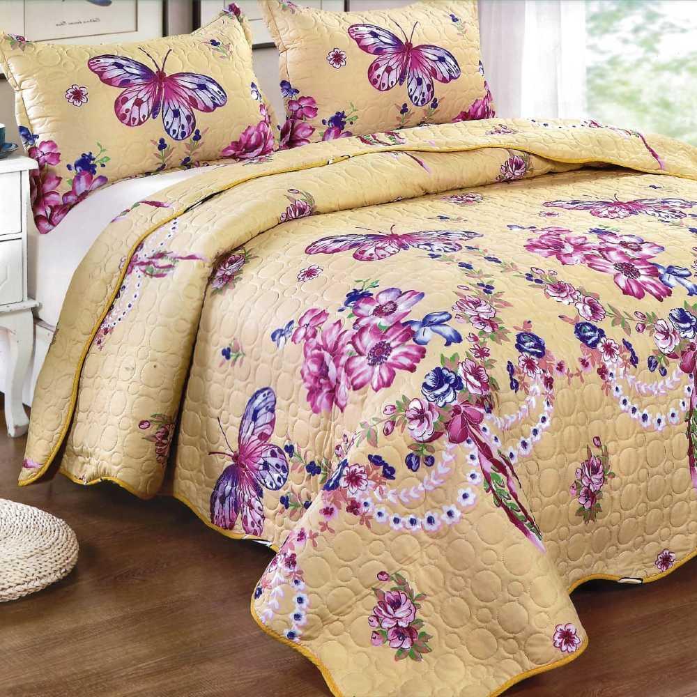 Cuvertura de pat galbena cu fluturi si flori