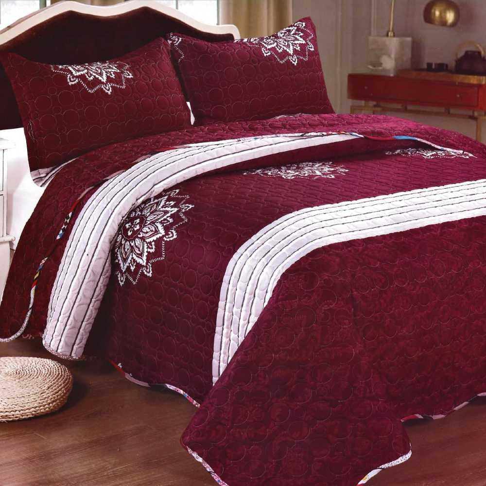Cuvertura de pat grena cu alb