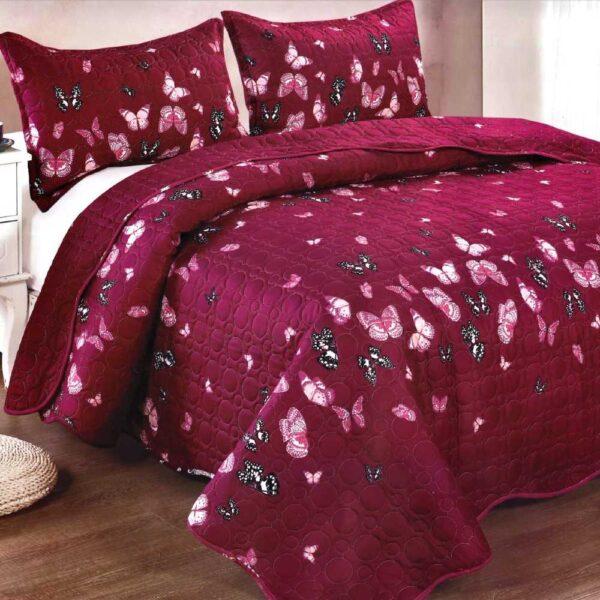 Cuvertura de pat grena cu fluturi
