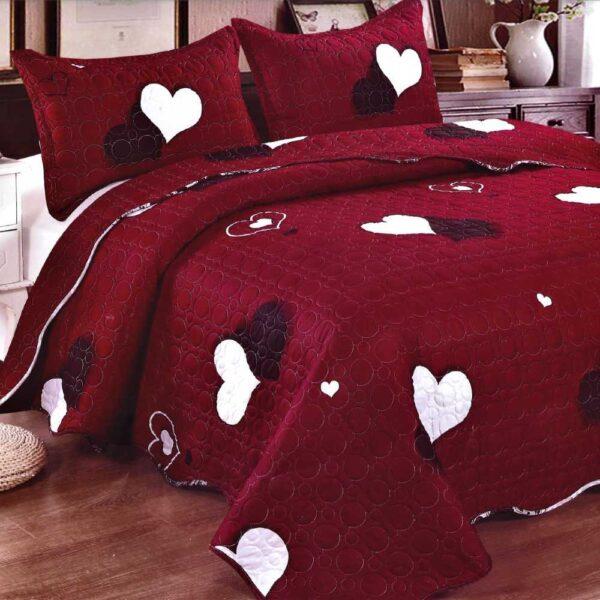Cuvertura de pat grena cu inimioare