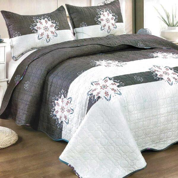 Cuvertura de pat gri cu alb
