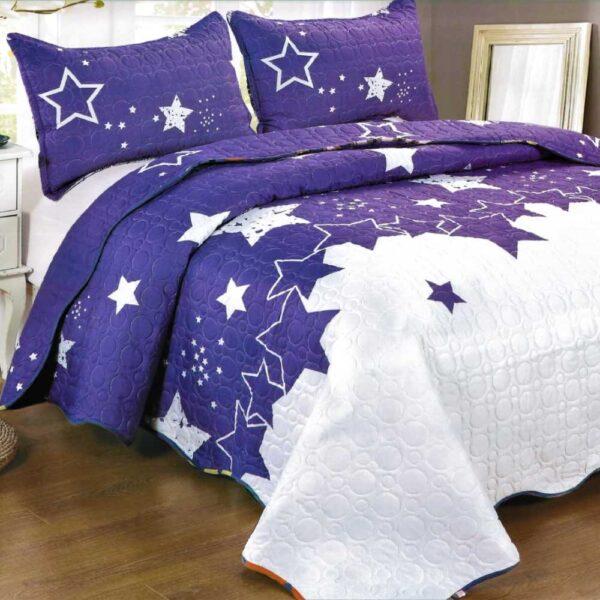 Cuvertura de pat mov cu stelute
