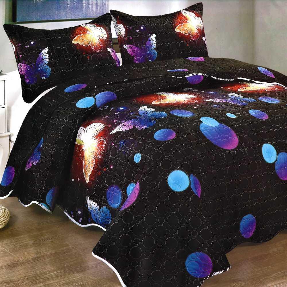 Cuvertura de pat neagra cu fluturi colorati