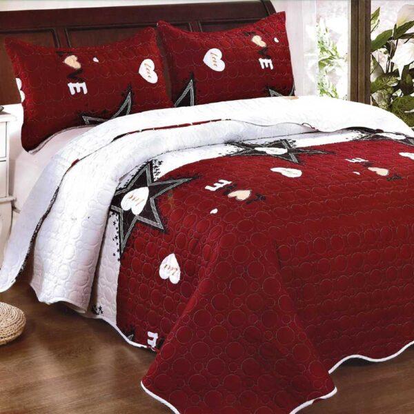 Cuvertura de pat rosu cu alb