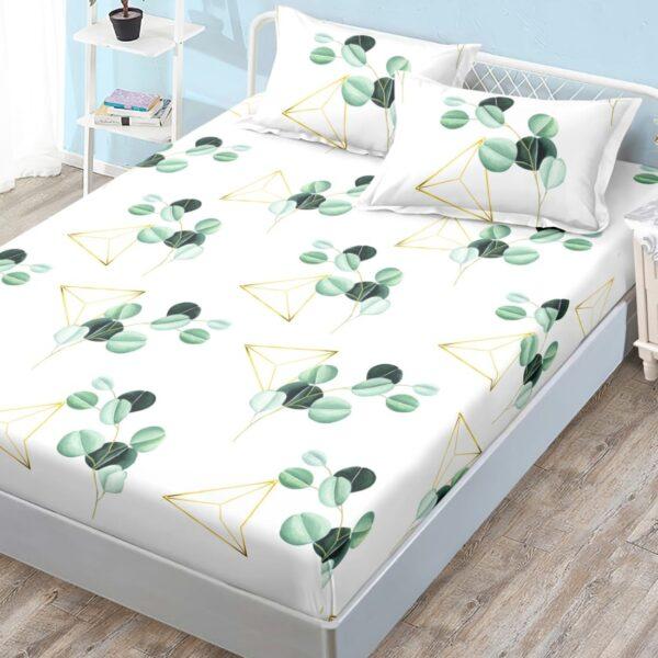 husa de pat cu elastic alba cu elemente verzi