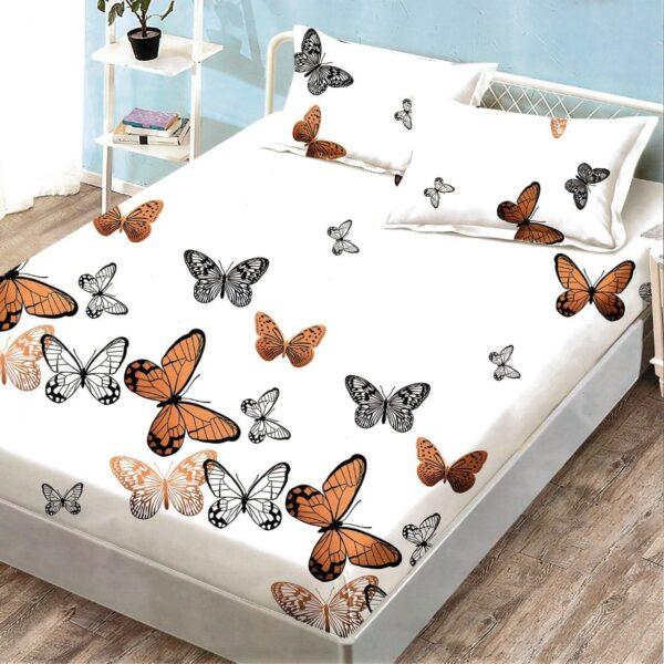 husa de pat cu elastic alba cu fluturi crem