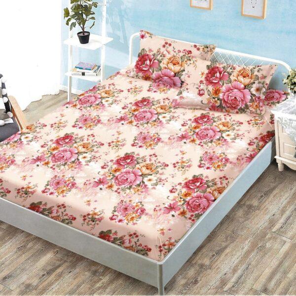 husa de pat cu elastic colorata cu trandafiri rosii