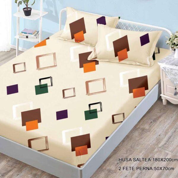 husa de pat cu elastic crem cu romburi