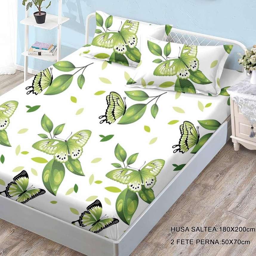 husa de pat cu elastic cu fluturi verzi