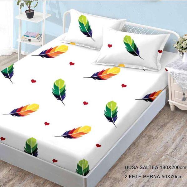husa de pat cu elastic cu fulgi