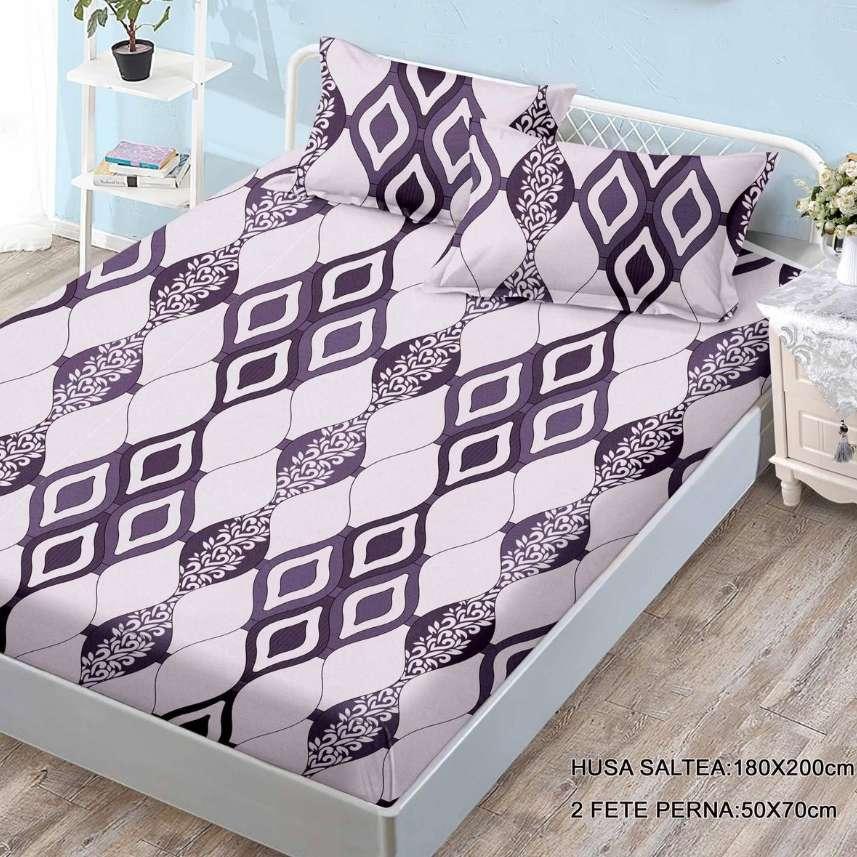 husa de pat cu elastic cu romburi